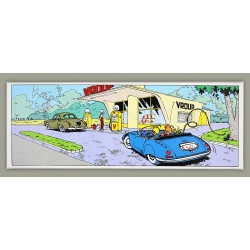 Framed Canvas Spirou and Fantasio Gas Station Grand Vingtième (55x20cm)