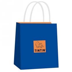 Bolsa azul en papel reciclado de Tintín Moulinsart 20x18x10cm (04122)