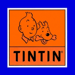Sticker of the official logo Tintin and Snowy Moulinsart 16x16cm (04090)