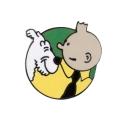 Pin's de Tintin et Milou sur fond vert courant Corner (Nº205)