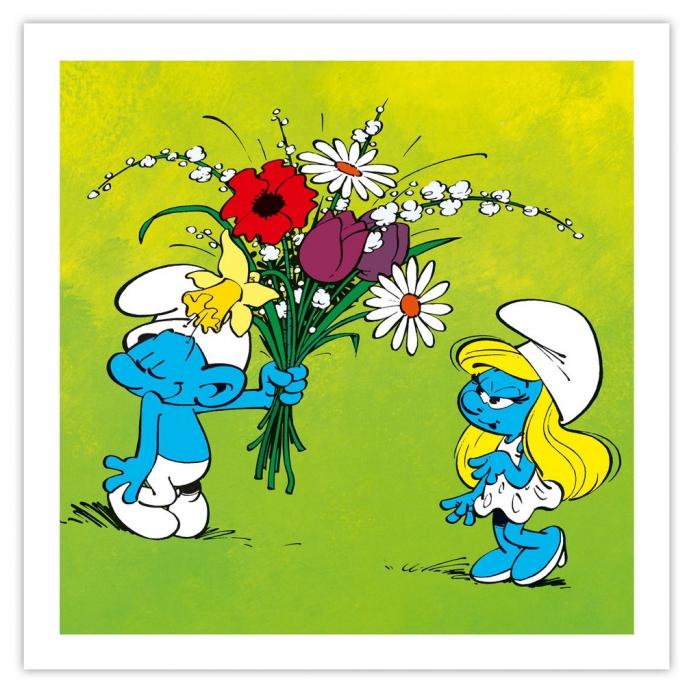 Framed Canvas The Smurfs The flowers Editions du Grand Vingtième (40x40cm)