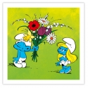 Framed Canvas The Smurfs The flowers Editions du Grand Vingtième (40x40cm)