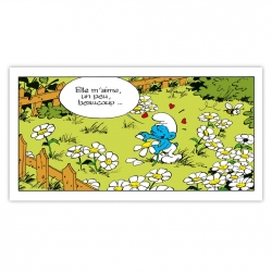 Framed Canvas The Smurfs She loves me ... Editions du Grand Vingtième (60x30cm)