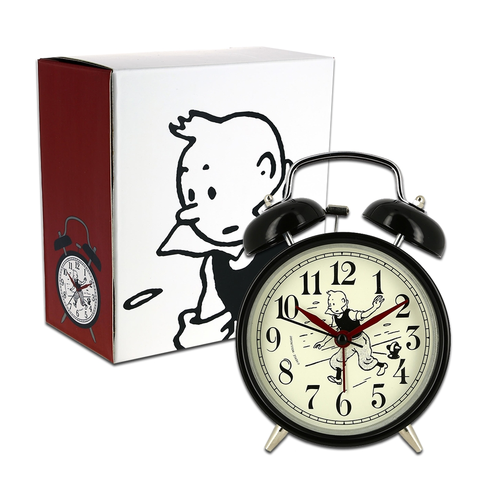classic vintage alarm clock the adventures of tintin running