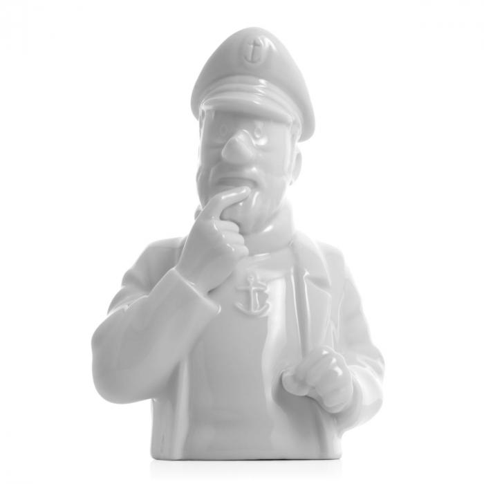 """Busto de porcelana """"Haddock pensativo"""" Moulinsart Brillante 12cm - 44206 (2014)"""