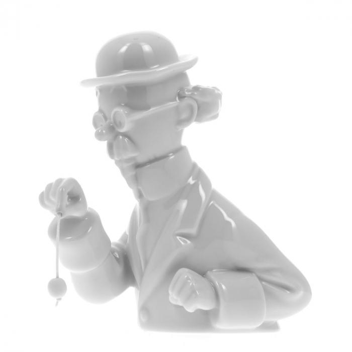 """Buste en porcelaine """"Tournesol et pendule"""" Moulinsart Brillant 13cm - 44209 (2015)"""