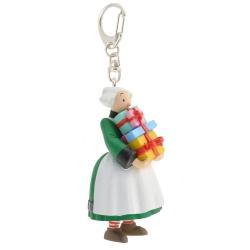 Porte-clés figurine Plastoy Bécassine tenant une pile de cadeaux 61073 (2014)