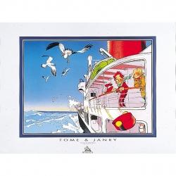 Póster Offset Tome & Janry de Spirou y Fantasio en el barco (80x60cm)