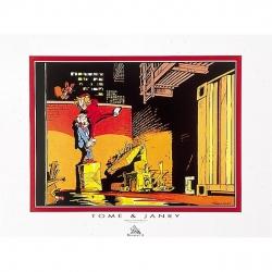 Poster Offset Tome & Janry de Spirou et Fantasio grimpant le mur (80x60cm)