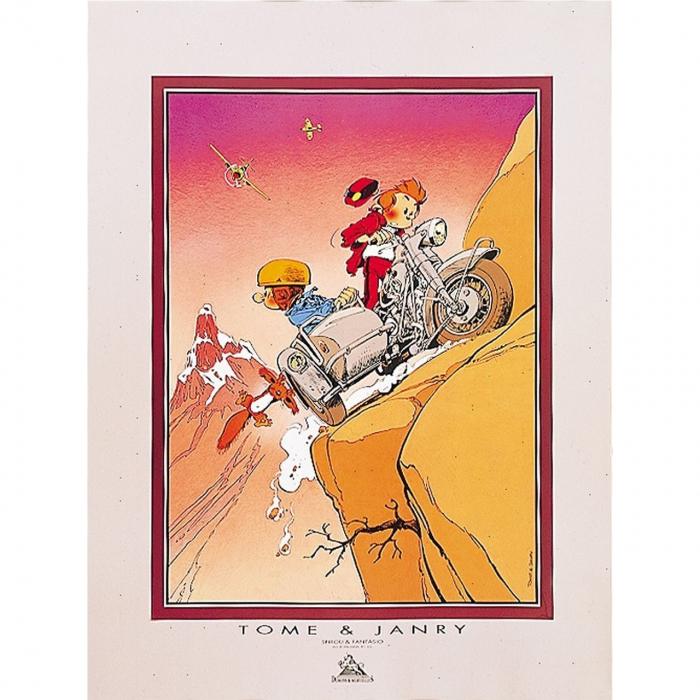 Póster Offset Tome & Janry de Spirou y Fantasio en el sidecar (60x80cm)