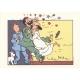Ex-libris de Tintín con Haddock y Tornasol en pijama (29,4x21cm)