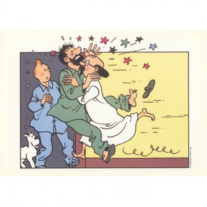 Ex-libris de Tintin avec Haddock et Tournesol en pyjama (29,4x21cm)