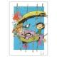 Ex-libris Offset Tribute to Franquin Gaston Lagaffe, Coicault (20,5x14,5cm)