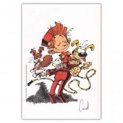 Ex-libris Offset Homenaje a Franquin Spirou, Coicault (20,5x14,5cm)