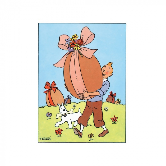 Easter Double Postcard Tintin with a chocolate egg 32031 (17,5x12,5cm)