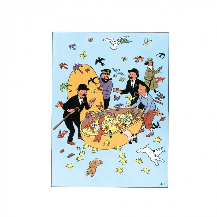 Easter Double Postcard Tintin with his friends 32051 (17,5x12,5cm)
