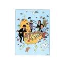 Postal de Pascua doble Tintín y compañía 32051 (12,5x17,5cm)