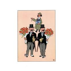Carte postale double de Pâques Tintin Dupond et Dupont 32011 (17,5x12,5cm)