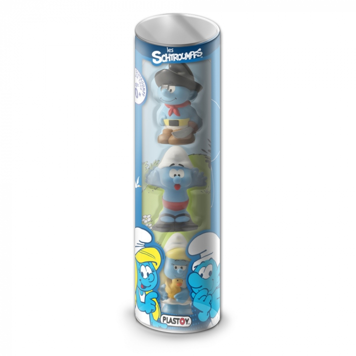 Series Tube of 3 figures Plastoy The Smurfs Eveil 60846 (2017)
