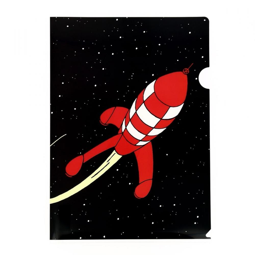 Pochette plastique a4 les aventures de tintin la fus e lunaire rouge 15122 bd addik - Fusee de tintin a colorier ...