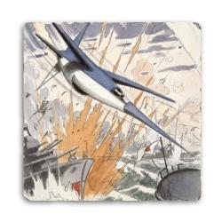 Placa de mármol colección Blake y Mortimer El secreto del Espadón 3 (20x20cm)