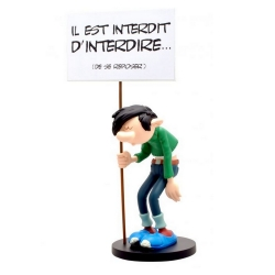 Figure Plastoy Gaston Lagaffe with sign il est interdit d'interdire... (00315)