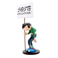 Collectible figure Plastoy Gaston Lagaffe with sign Sieste Obligatoire! (00314)