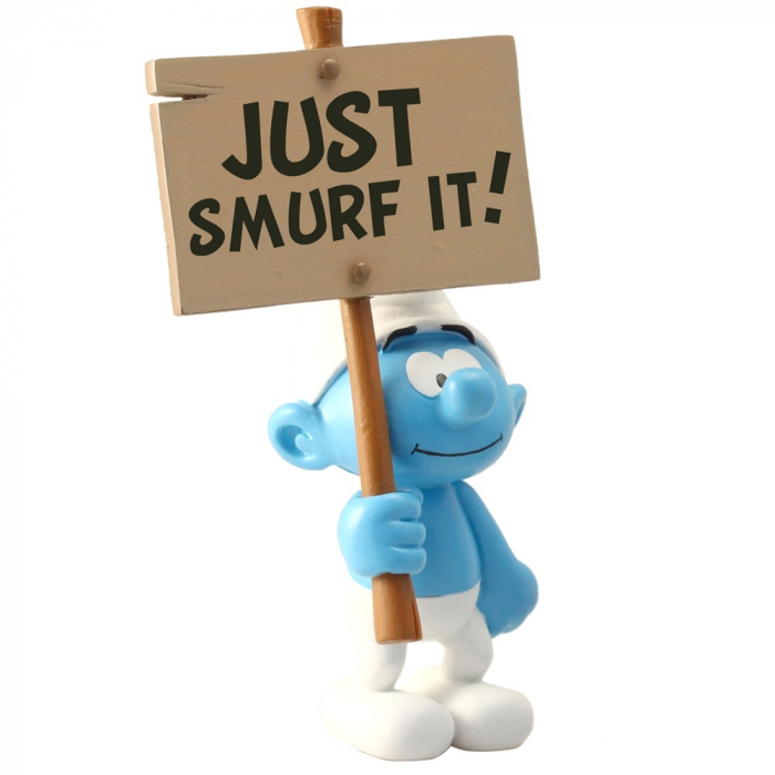 Collectible Figurine Plastoy: The Smurf with sign Just Smurf It! 00179 (2017)