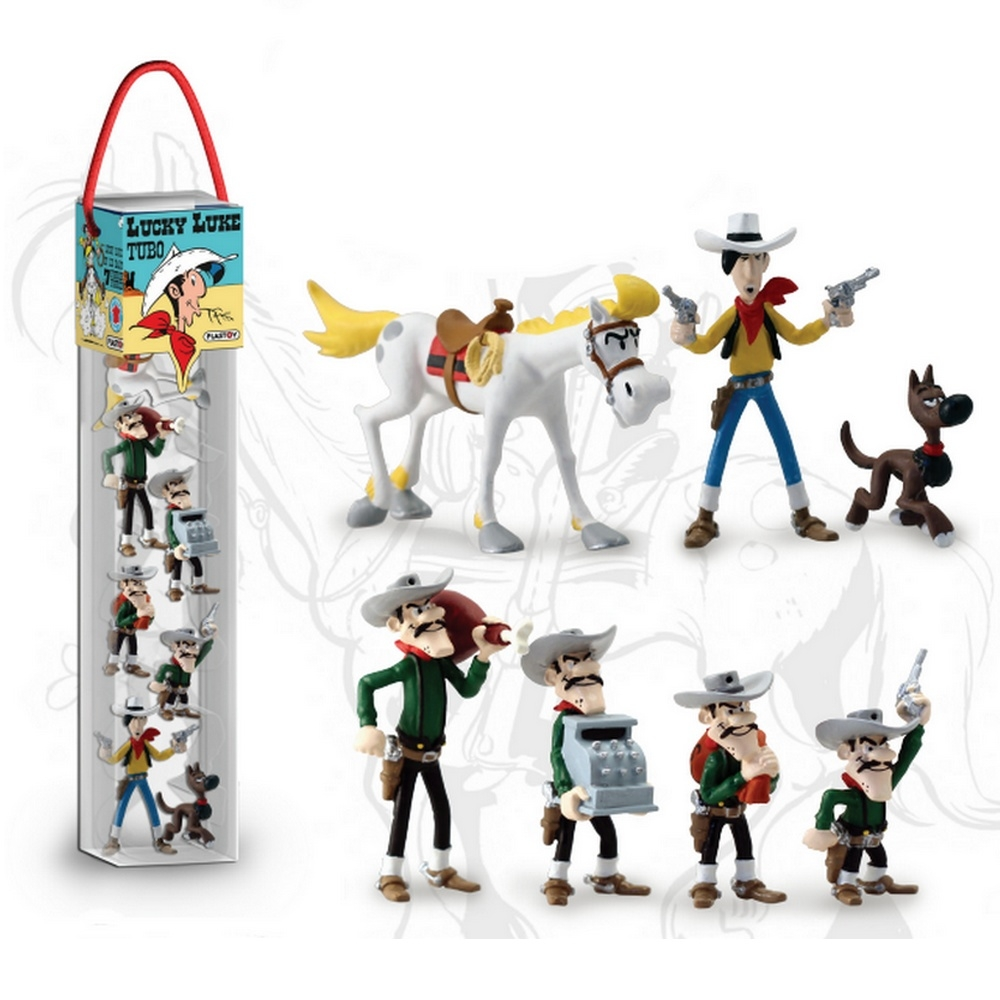 Collectible Series Tube With 7 Figures Plastoy Lucky Luke