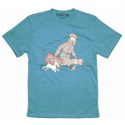 T-shirt Tintin et Milou Le Petit Vingtième ils arrivent !! Bleu chiné (2017)