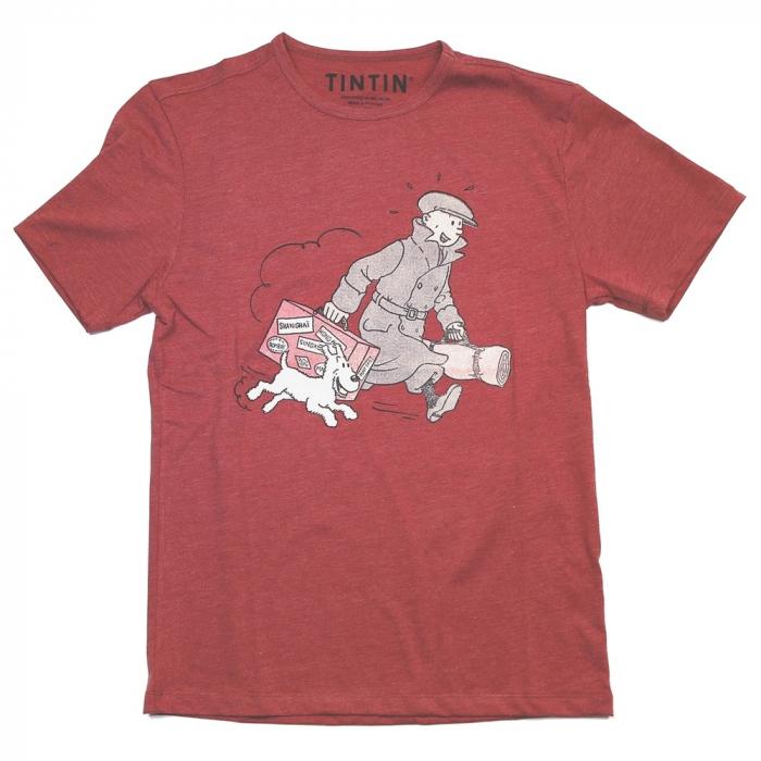 Camiseta Le Petit Vingtième Tintín y Milú ils arrivent !! Rojo (2017)