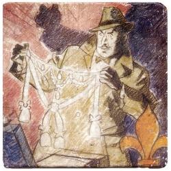 Plaque de marbre collection Blake et Mortimer L'Affaire du collier (20x20cm)