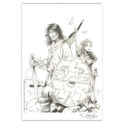 Ex-libris Offset Hommage de Thierry Girod à Thorgal 01 (14,5x21cm)
