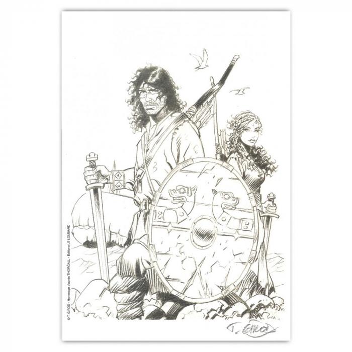 Ex-libris Offset Hommage de Thierry Girod à Thorgal 01 (21x14,5cm)