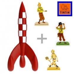 Set regalo de colección: El cohete lunar con tres figuritas en relieve de Tintín