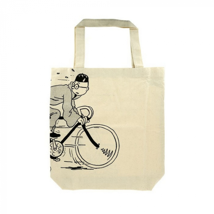 100% Cotton Reusable Beige Bag Tintin on a bicycle 48x42x12cm (04288)
