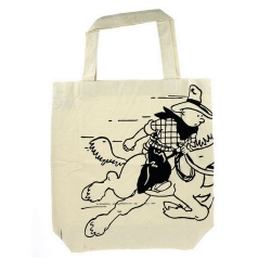 100% Cotton Reusable Beige Bag Tintin Cowboy 48x42x12cm (04287)