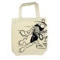 Bolsa reutilizable beige 100% algodón Tintín Cowboy 48x42x12cm (04287)