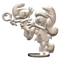 Figura de colección Les étains de Virginie Pitufina con Bebé Pitufo (2017)