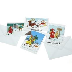 Set de 10 Postales de Navidad y Año Nuevo Tintín 31306 (15x10cm)
