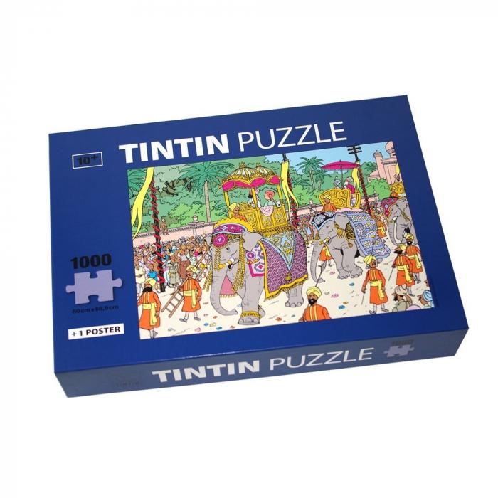 Puzzle Tintín el elefante de su Alteza con poster 50x67cm 81545 (2017)