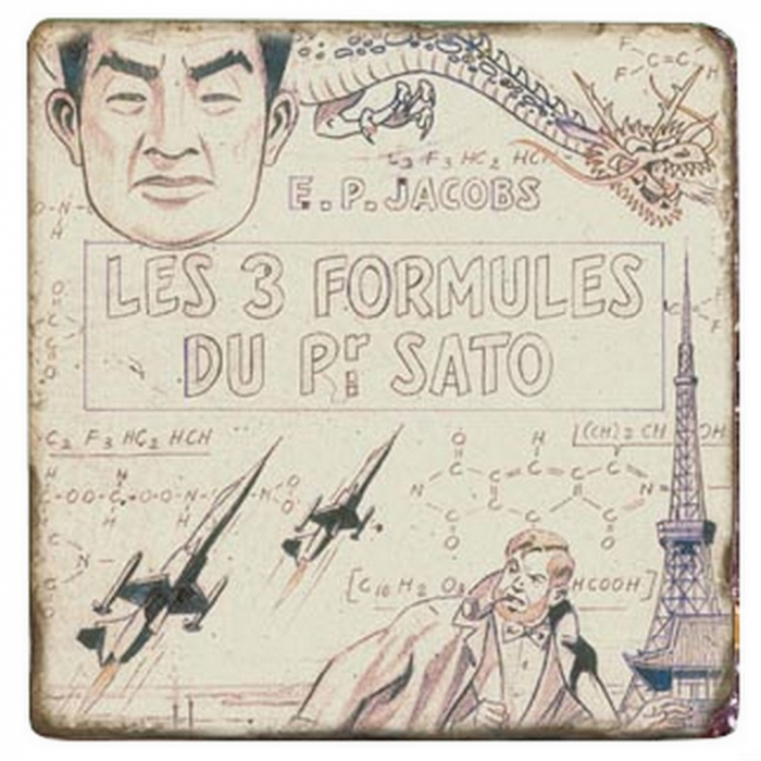 Placa de mármol Blake y Mortimer Las 3 fórmulas del profesor Sato T1 (20x20cm)