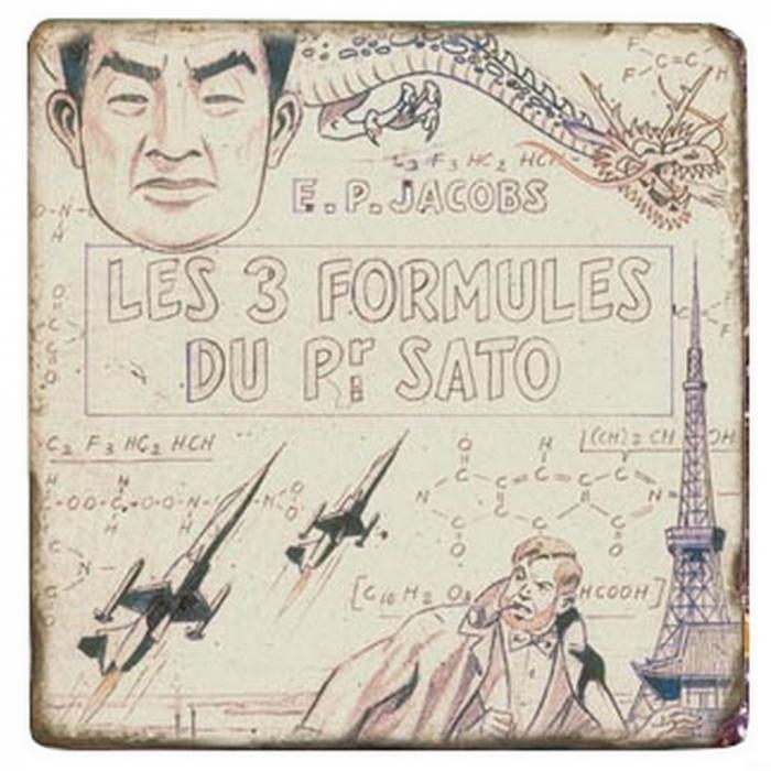 Plaque de marbre Blake et Mortimer Trois Formules du professeur Sato T1 20x20cm