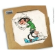 Collectible marble sign Gaston Lagaffe sleeping upright (20x20cm)