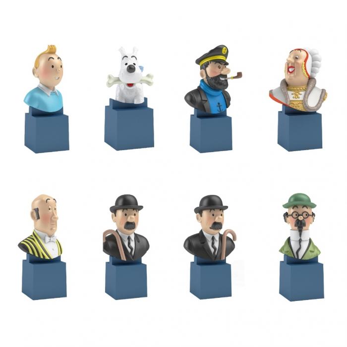 Set de 8 mini bustes de collection Tintin Moulinsart PVC 7,5cm (2017)