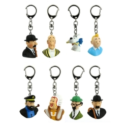 Collectible set of 8 keyring chain Tintin busts Moulinsart PVC 4cm (2017)