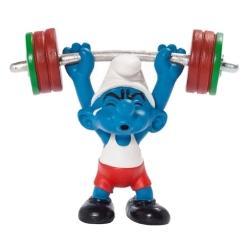 Figurine Schleich® Schtroumpf Haltérophile Equipe Olympique Belge 2012 (40267)