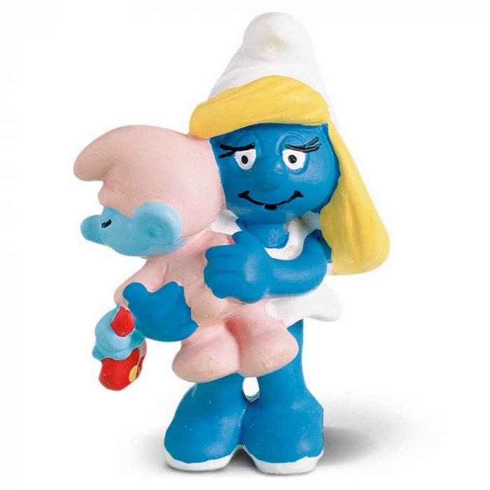 Figurine Schleich® Les Schtroumpfs - La Schtroumpfette avec son bébé (20192)