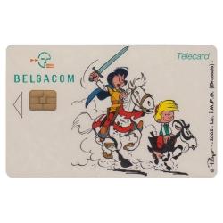 Tarjeta telefónica de colección Belgacom Johan y Pirluit (2002)