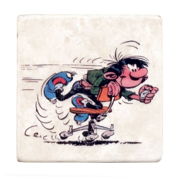Collectible marble sign Gaston Lagaffe on his remote-controlled chair (10x10cm)